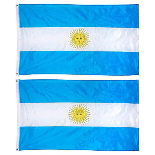 Juvale 2-Piece Argentina Flags - Outdoor 3x5 Feet Argentinian Flags, Argentine National Flag Banners, Double Stitched Polyester Flags Brass Grommets, Decorations Parties Festivals, 3 x 5 Feet