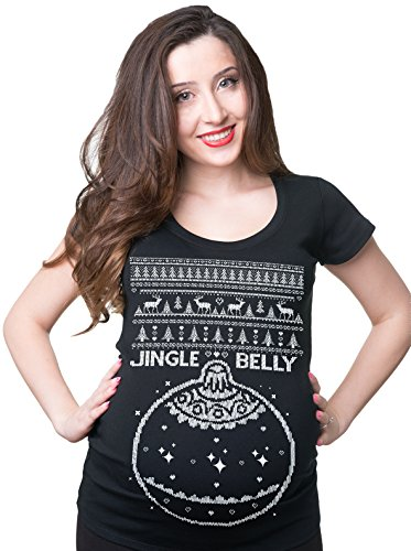 Silk Road Tees Jingle Belly Christmas Maternity Pregnancy T-Shirt Ugly Sweater Style Pregnancy Shirt Large Black -