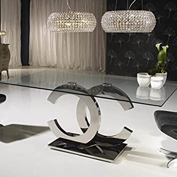 CC Verspiegelt Esstisch Designer Glas Und Chrom Poliert