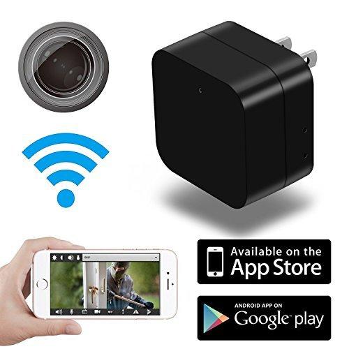 Cámara espía oculta en forma de cargador, cámara WiFi inalámbrica, espía oculta remota en forma de cargador de pared para teléfono USB, detección de movimiento para la seguridad del hogar, niñera, bebé, mascotas, grabadora de vid