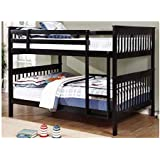 BOWERY HILL Full Over Full Bunk Bed in Black, Heavy Duty (400lbs per Bunk)