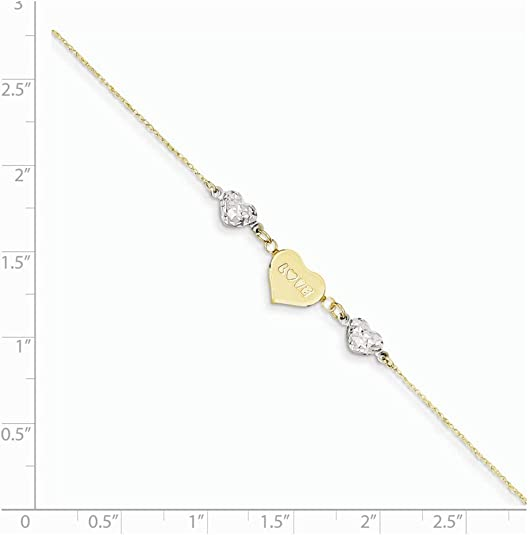 14k Yellow Gold Two-tone Gold Puffed Hearts MOM Anklet 9inch Ideal Gifts For Women