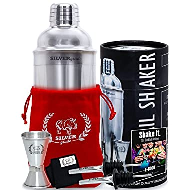 Cocktail Shaker Set - Professional Bartender Kit in a Luxury Bag, Martini Bar Mixed Build-in Strainer Jigger 2 Pourers and eBook with over 50 recipes - Barware Tools by SILVERgrade.