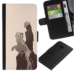 MobileX / HTC One M8 / Girl & Skeleton Grim Reaper / Cuero PU Delgado caso Billetera cubierta Shell Armor Funda Case Cover Wallet Credit Card
