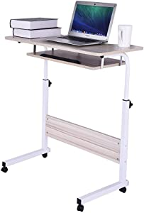 Removable Rolling Computer Desk - 32-inch Laptop Desk, Can Be Lifted Double Layer Gaming Desks Teen Student Dorm Study Desks, Laptops Working and Crafting, Fits Home Office (White)