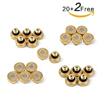 """Brass Misting Nozzles For Outdoor Cooling System 22 pcs ,0.012"""" Orifice (0.3 mm) 10/24 UNC By Aootech"""
