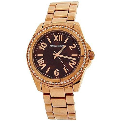 Mark Maddox Ladies Brown Dial Rhinestone Set Bezel Bracelet Watch MM3017-43