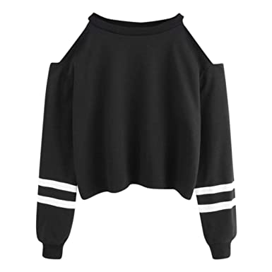 Dasongff Damen Sweatshirt Frauen Bluse Weg von der Schulter Muster Jumper  Tops Gestreift Bluse Pullover T 44eb6687f3