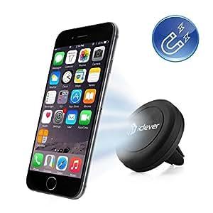 Car Mount,iClever® IC-CH05 Sostenedor Magnético en respiradero del coche para iPhone 6 6 Plus, iPhone 5S 5C 5 4S, Samsung Galaxy S6 Edge, S6 S5 S4 S3, Nexus 5 4, HTC Uno M9 M8 y MP3 MP4 PDA GPS, Negro
