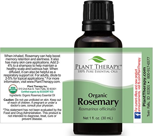 Plant Therapy USDA Certified Organic Rosemary Essential Oil. 100% Pure, Undiluted, Therapeutic Grade. 30 ml (1 oz).