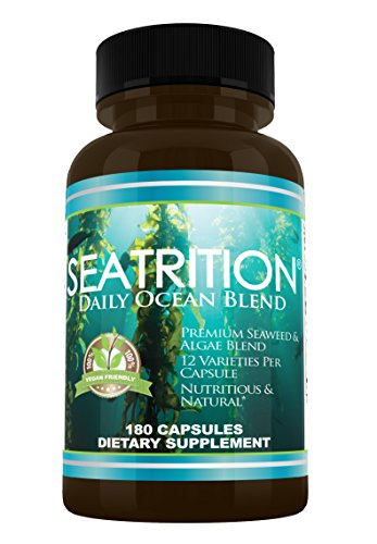 Sea Veggies Red Seaweed (Seatrition Daily Ocean Blend 550mg 180 veg capsules 12 Varieties of Pure Seaweed Red Green Brown Algae Kelp Sea Vegetable Plants Vegan Friendly Dietary Supplement 2 month Supply)