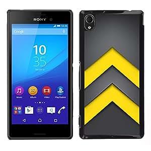 LECELL--Funda protectora / Cubierta / Piel For Sony Xperia M4 Aqua -- Minimalista flechas amarillas --