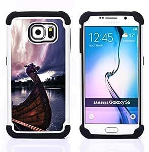 GIFT CHOICE / Defensor Cubierta de protección completa Flexible TPU Silicona + Duro PC Estuche protector Cáscara Funda Caso / Combo Case for Samsung Galaxy S6 SM-G920 // Viking Ship //