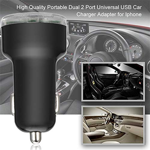 Pudincoco Portable Dual 2 Port Universal USB Car Charger Adapter For Iphone Newest Vehicle Cellphones USB Power Adapter(Black)