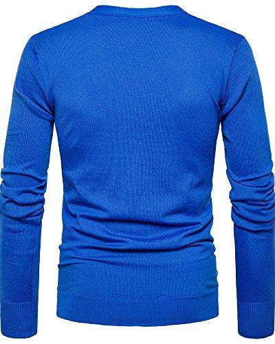 Saphir Anyu Manche Cardigan Leger Bleu Poids Col En V Hommes Longue Décontractée 4w4vxFqf