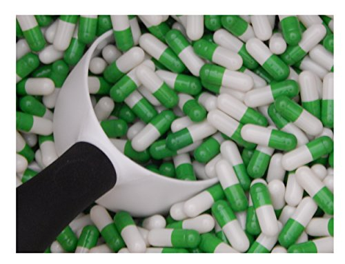 Empty Gelatin Capsules Size 0, 1000 count, color: green/white
