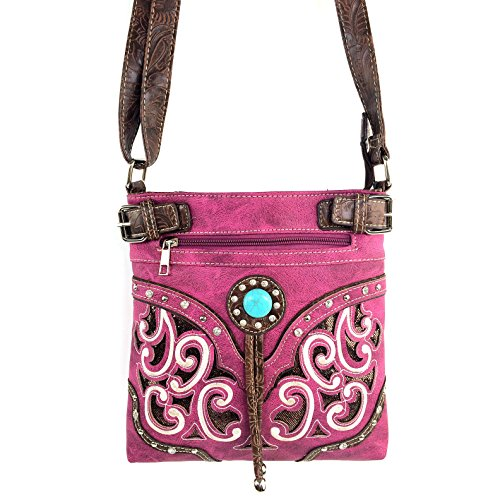 Purple Body Bag Strap Messenger Floral with Cut Rhinestone Purse Turquoise Tooled Justin West Gleaming Long Cross Laser Stone qaWTnRpwcZ