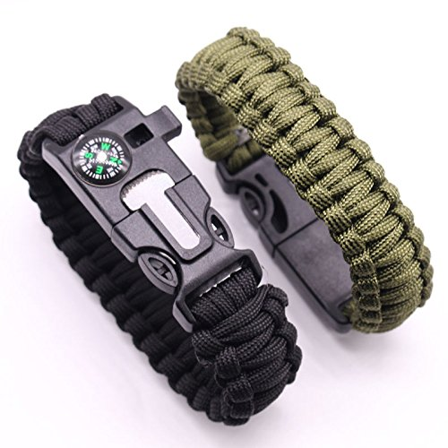 Xinshan Paracord Bracelet, With 5 IN 1: Compass , Whistle , a Knife, Fire Starter and an Escape Hand Rope, Functional Brand New