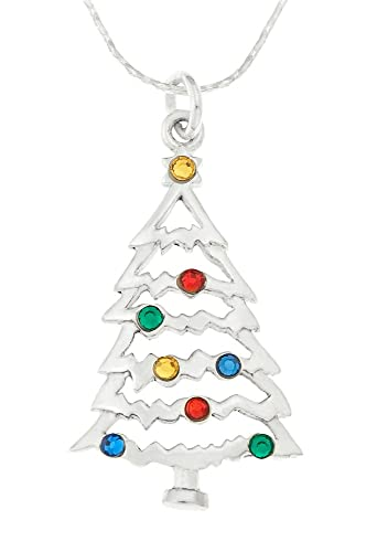 Ornami sterling silver and crystal set christmas tree pendant with ornami sterling silver and crystal set christmas tree pendant with chain of 46cm aloadofball Choice Image