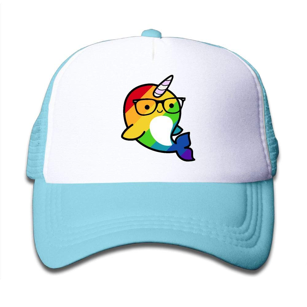 Clarissa Bertha Funny Rainbow Gay Narwhal Sunglass Kids Boys' Girls' Baseball Caps Mesh Hats