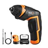 Tacklife Cordless Rechargeable Screwdriver 3.6-Volt 2000mAh Li-ion MAX Torque 4N.m - LED, 31pcs Driver Bits, 1pc Right Angle Adapter, 1pc Drill Bit, USB Charging Cable | SDP51DC
