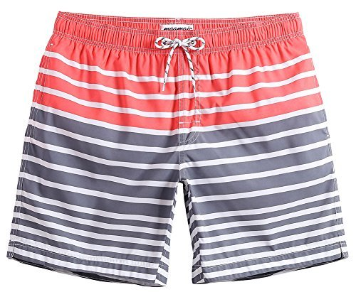 MaaMgic Mens Quick Dry Striped Swim Trunks With Mesh Lining Swimwear Bathing Suits,Qma011-red and ()