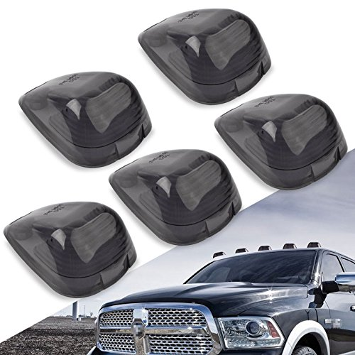 Cab Marker Lights Cover,YITAMOTOR Smoke Roof Clearance Lights Cover Lens Aftermarket Replacement Compatible for 1999-2006 Ford F150 F250 F350 F450 F550, Super ()