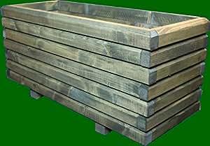 macizo Maceta de madera 40x 40x 28cm 60x 60mm barnizado con barniz para madera verde