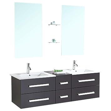 RO SRL Badmöbel Badezimmermöbel Badezimmer Modell Rome 150 Cm Waschtisch  Schrank Waschbecken