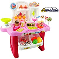 Ramakada Supermarket Shop Pretend Play Set Toy with Sound Effects, Multi Color (Pink)
