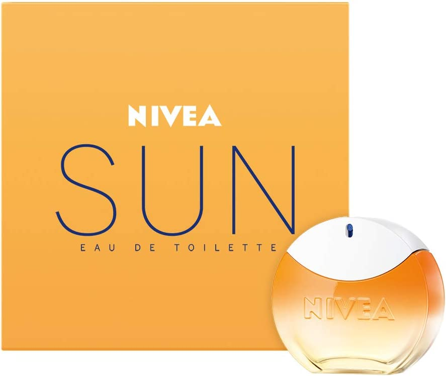 NIVEA SUN Eau de Toilette (1 x 30 ml) con el original aroma de la crema solar NIVEA SUN, perfume para mujer en un icónico frasco de perfume, sensual