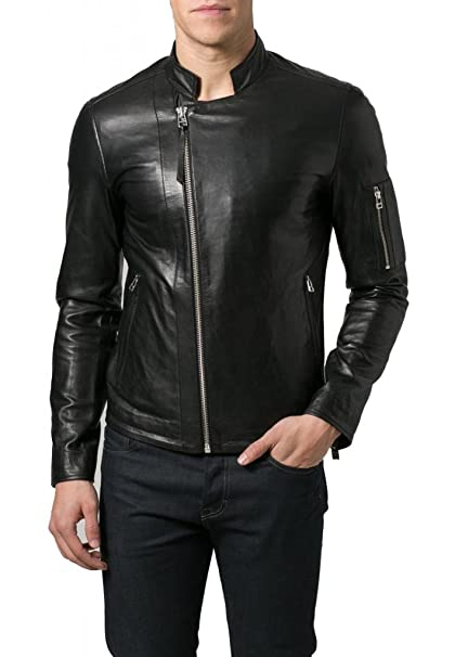 Trendtales Chaqueta de Cuero para Hombre, Piel de Cordero, Negro TTKL380 XXL: Amazon.es: Ropa y accesorios