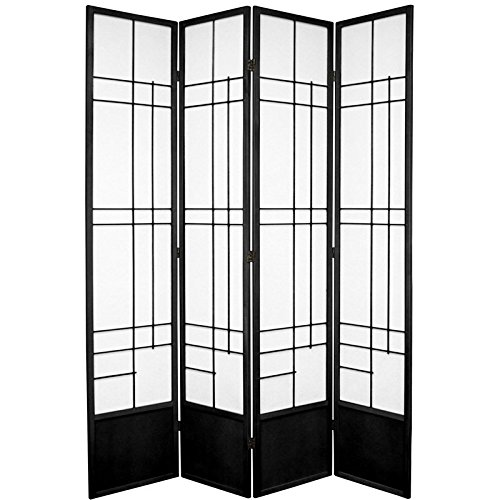 Oriental Furniture 7 ft. Tall Eudes Shoji Screen - Black - 4 Panels