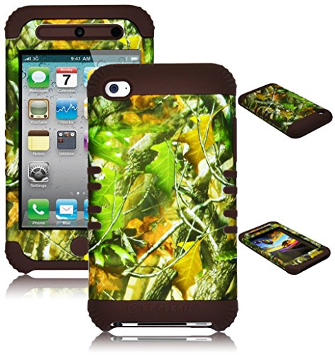iPod Touch 4 Case, Bastex Heavy Duty Hybrid Soft Brown Silicone Cover Hard Leaf Camo Design Case for Apple iPod Touch 4 (Ipod 4g Case Camo)