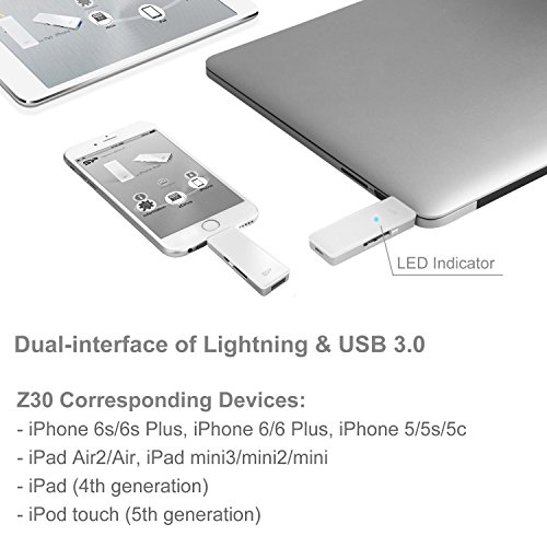 SP xDrive Z30 128GB Flash Drive Dual USB Flash Drive with Lightning Connector, Apple Mfi Certified for iPhone/iPad/iPod by Silicon Power (Image #3)