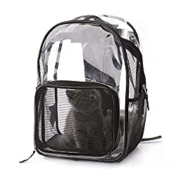 AUOKER Pet Carrier Backpack, Breathable Carrier Backpack Durable Clear Bag for Cats Dogs Outdoors Traveling Hiking - Black