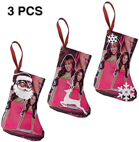 クリスマスの日の靴下 (ソックス3個)クリスマスデコレーションソックス アイドルミュージックMiley Cyrus クリスマス、ハロウィン 家庭用、ショッピングモール用、お祝いの雰囲気を加える 人気を高める、販売、プロモーション、年次式