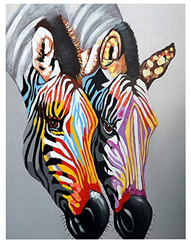 TINMI ARTS 5D DIY Diamond Painting Animal Kits for Adults Cross Stitch Rhinestone Embroidery Home Wall Decoration Colorful Zebra 16×20 inch(40×50CM) (Two -