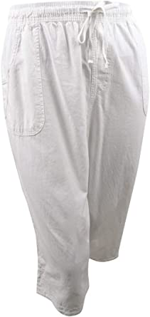 KAREN SCOTT Women/'s Plus Bright White Pull-On Comfort Waist Capri Pants 1X 2X 3X