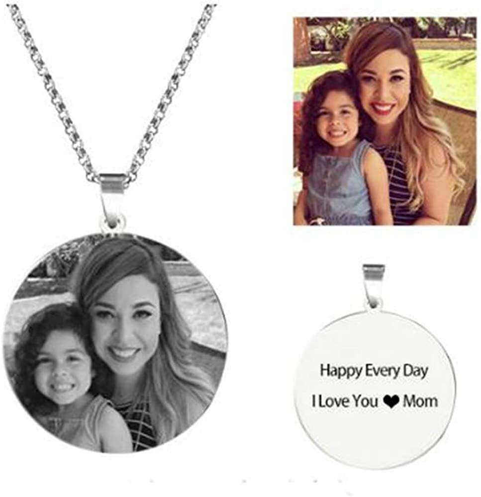 Super frist Engraved Name Necklace 925 Sliver Pendants Photo Gift for Women//Men//Family