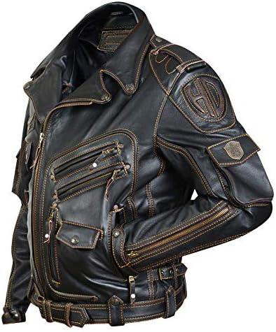 HD Real Genuine Cowhide Premium Heavyweight Motorcycle Biker Black Leather Jacket