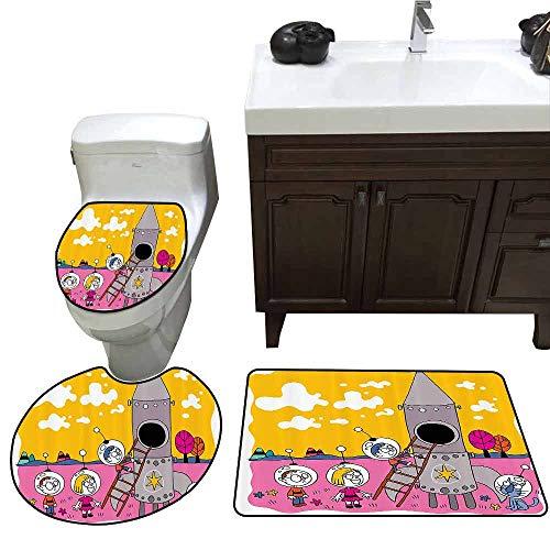 3 Piece Toilet Cover Set Cartoon Decor Collection Hero Astronaut Kids with The Rocket Space Ship Childhood Dream Fun Artwork Print Printed Rug Set Yellow Fuchsia