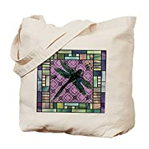 CafePress - Stained Glass Dragonfly - Natural Canvas Tote Bag, Cloth Shopping Bag