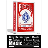 Magic Makers Bicycle Stripper Deck Red With 10 Bonus Tricks