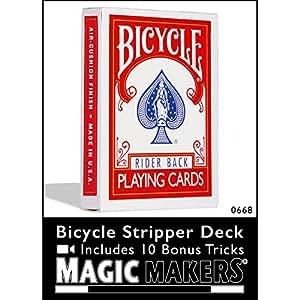 Magic Makers Bicycle Stripper Deck Red With 10 Bonus Tricks