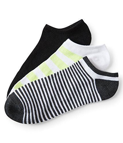 Aeropostale 3-Pack Neon Stripe, Thin Stripe & Solid Ankle Socks Yellow