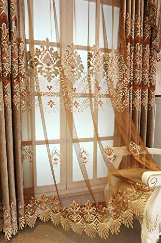 (ZZCZZC 2 Pack - European Organza Tulle Sheer Curtains Red Brown Voile Curtain Elegant French Window Panels for Parlor Balcony Rod Pocket Fringe Decorated Bottom Voile W39 x L84 inch Total W78 inch)