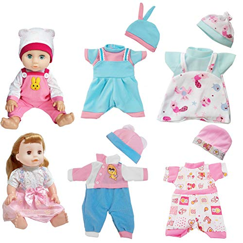 ARTST Doll Clothes,12 inch Baby Doll Clothes[6 Sets](Include 5 Hats) for 10 inch Dolls /11 inch Baby Dolls/ 12 inch Baby Dolls (Best Sewing Machine For Apparel)