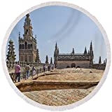 Pixels Round Beach Towel With Tassels featuring ''Cathedral In A City, Seville Cathedral'' by Pixels