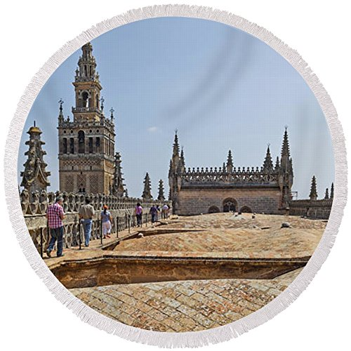 Pixels Round Beach Towel With Tassels featuring ''Cathedral In A City, Seville Cathedral'' by Pixels by Pixels